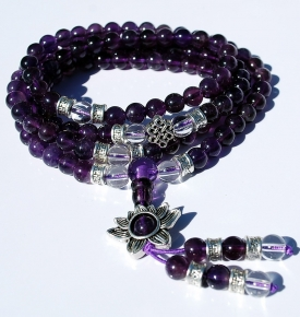 Mini Mala- Amethyst with Lotus