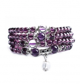 Mini Mala-Purple & Silver