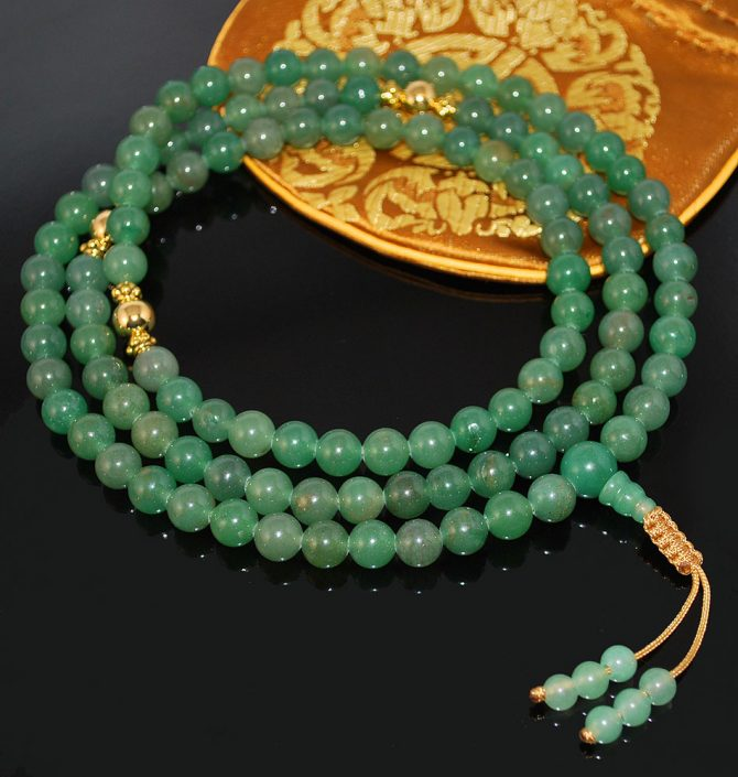 Aventurine and Gold Mala