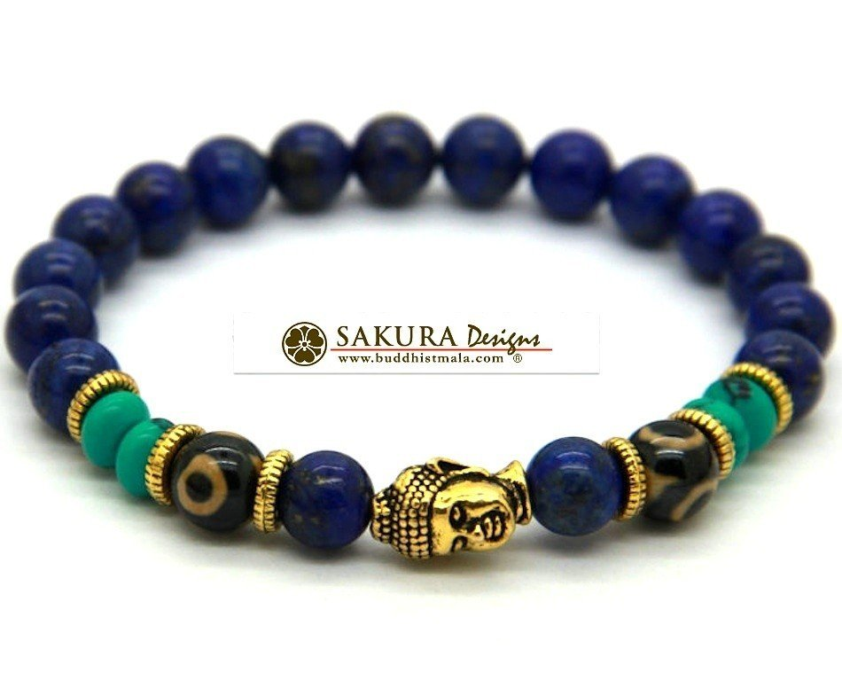 Bracelet mala lapis buddha sakura designs for Zen culture jewelry reviews