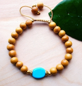 Mala Bracelet- Turquoise & Natural Wood