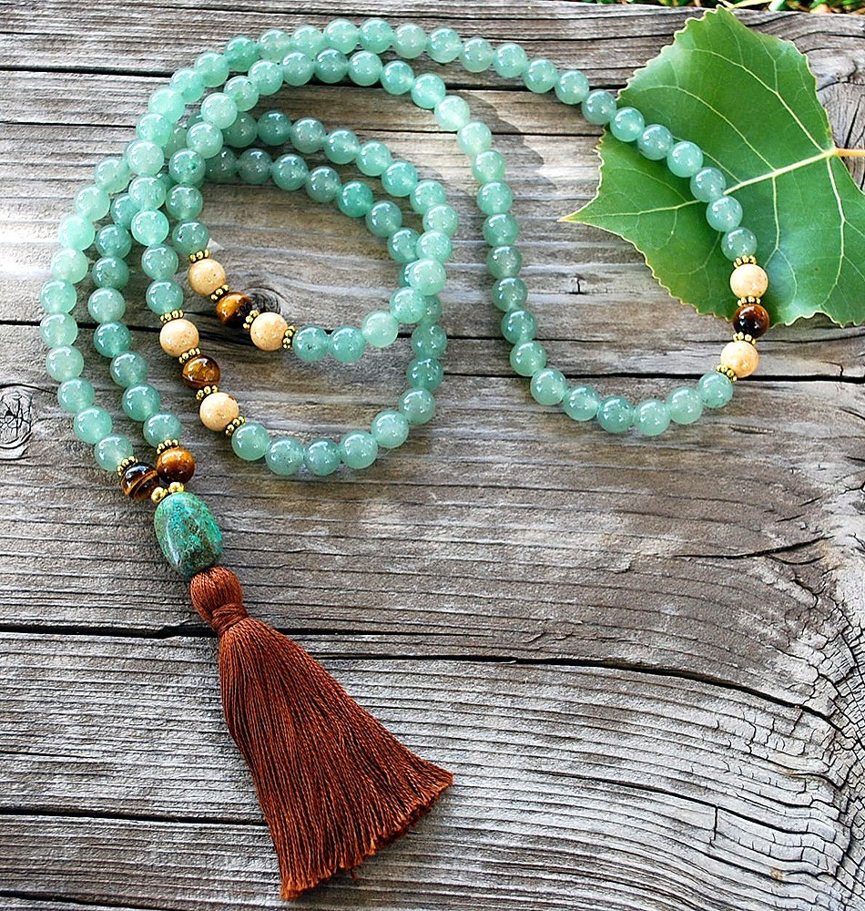 Pacifying mala necklace sakura designs for Zen culture jewelry reviews