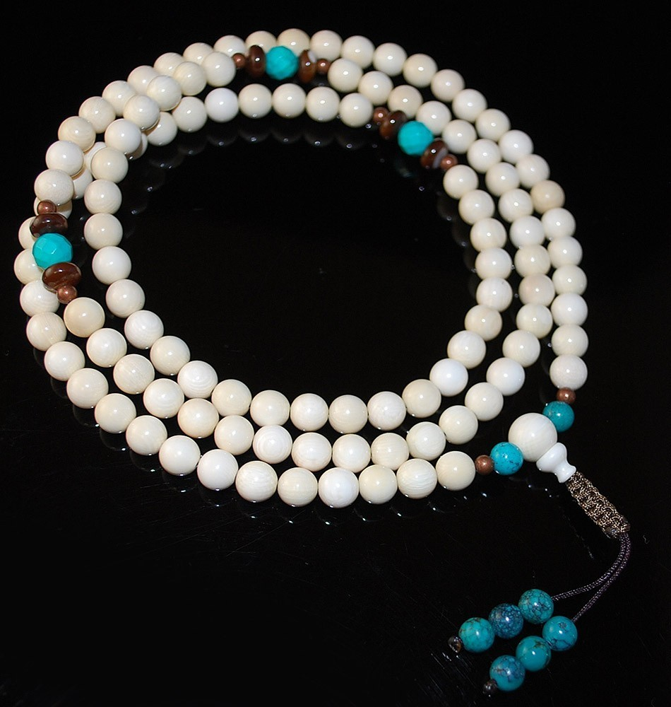 8mm Mammoth Mala with Coral and Turquoise