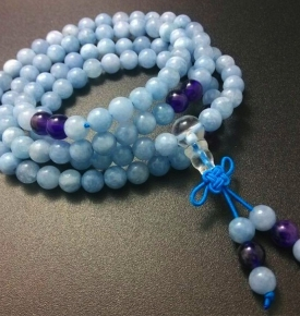 Mini Mala- Aquamarine Mala Beads