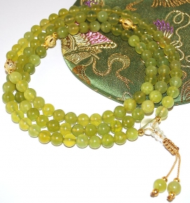 Natural Olivine Jade and Gold Mala