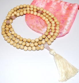 Japa Mala- Natural Wood & Rose Quartz