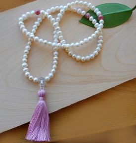 Pearl and Rhodochrosite Mala