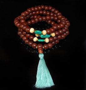 9x12mm Old Bodhi and Turquoise Mala