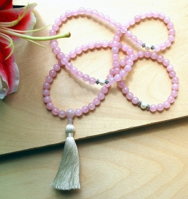 Rose Quartz & Pearl Mala