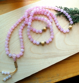 Rose Quartz & Gold Mala
