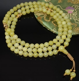 Serpentine and Gold Mala