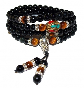 Mini Mala- Tiger Eye and Obsidian Mala