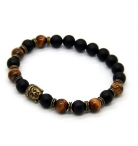 Wrist Mala- Antique Bronze Buddha with Tiger Eye