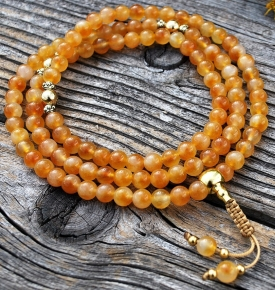Amber Yellow Jade & Gold Mala