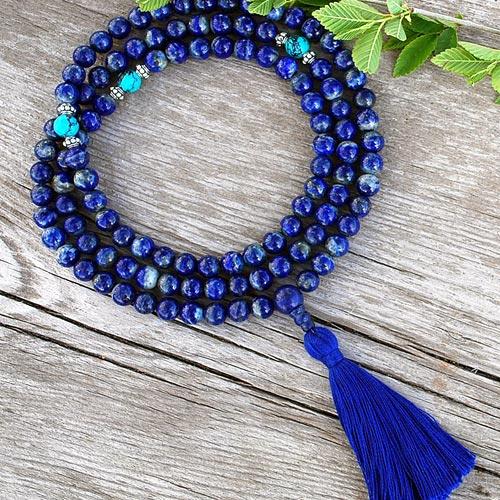 lapis buddhist prayer beads