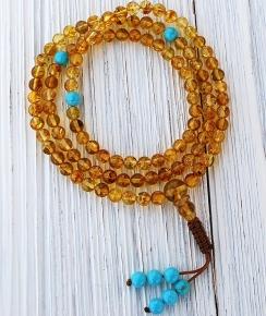 6mm Amber Mala Necklace