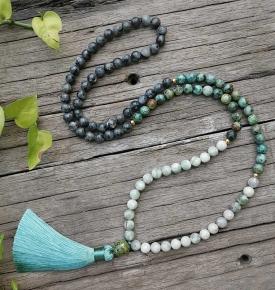 African Turquoise lucky Jade Positive JapaMala Set Spiritual Jewelry Meditation Lotus Mala