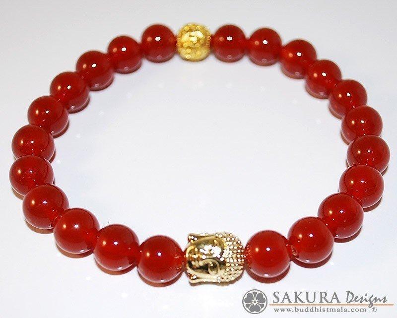 Bracelet Mala-Carnelian with Buddha