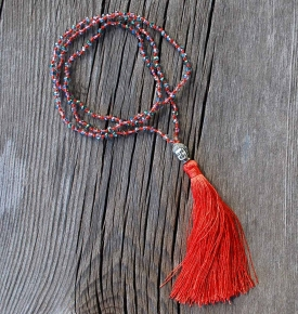 Buddha Tassel Necklace Coral
