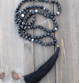 Faceted Black Agate Mala