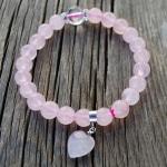 Heart Bracelet Wrist Mala Rose Quartz