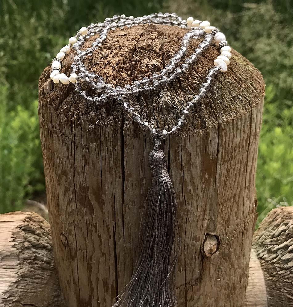 Mala Crystal, Pearl Silver