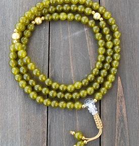 Olivine Jade Gold Mala