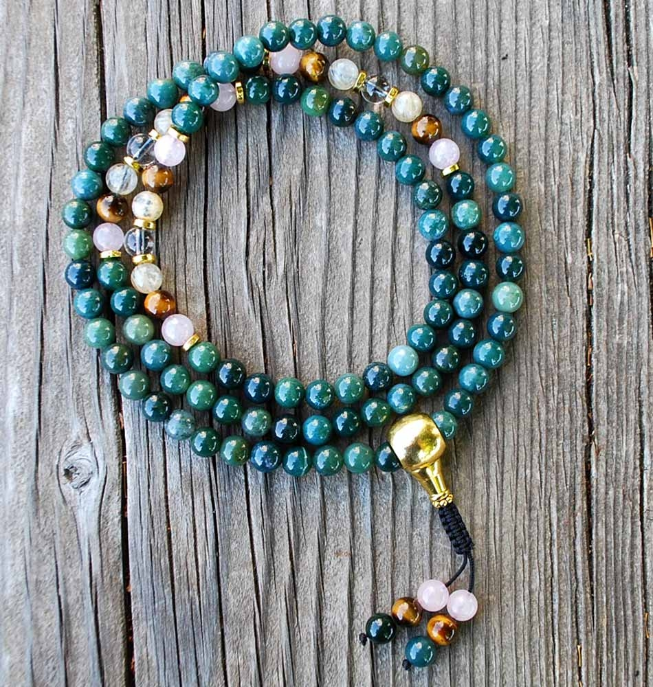8mm Prosperity Mala Moss Agate
