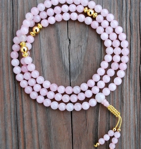 Rose Quartz & Gold Rosary
