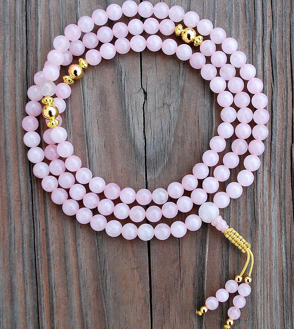 Rose Quartz & Gold Rosary