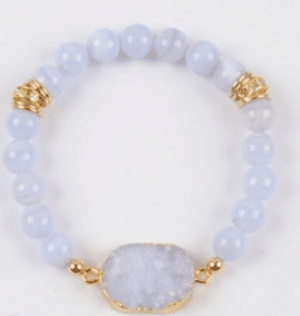 Wrist Mala-Blue Agate Druzy
