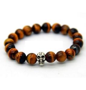 Tiger's Eye Skull Bracelet
