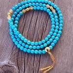 Turquoise & Gold Mala Necklace