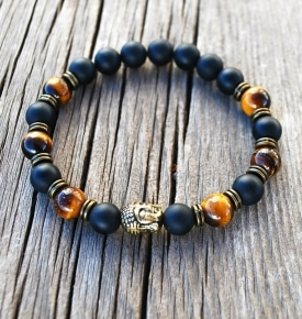 Wrist Mala-Buddha with Tiger Eye