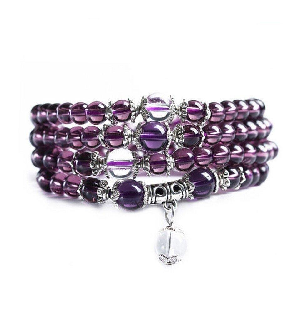 Mini Mala-Purple & Silver