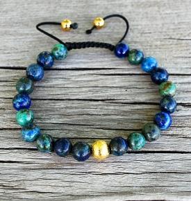 Bracelet Mala-Azurite & Gold