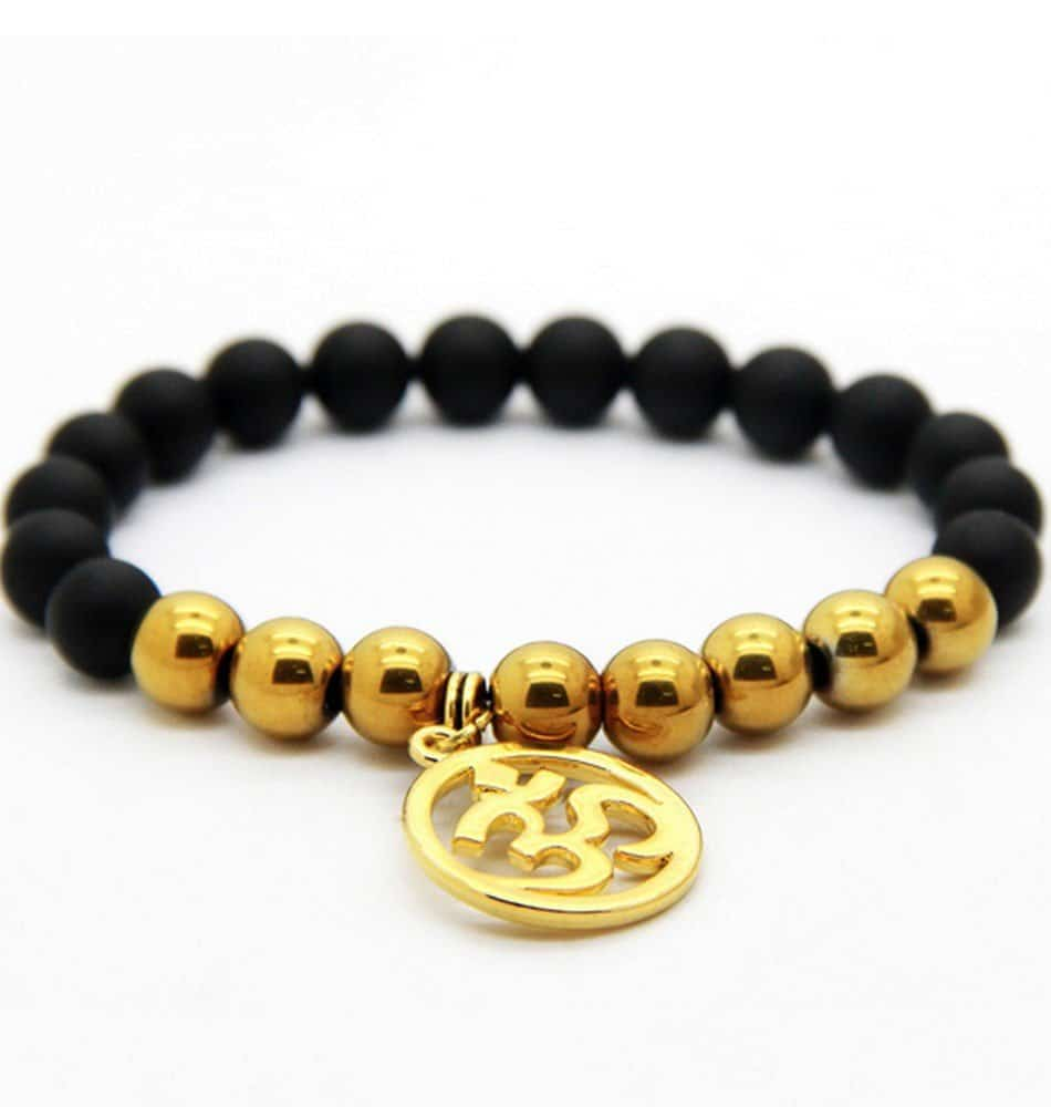 gold pyramid black bracelet