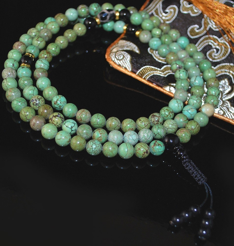 Blue Green Turquoise Magnesite Mala
