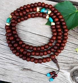 Tibetan Buddhist Mala Beads, Sandalwood Bodhi and Lotus