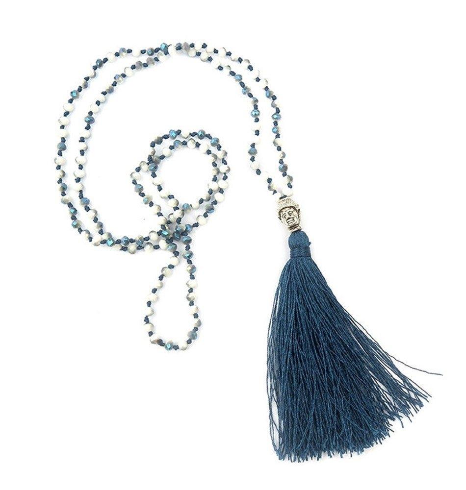 Boho Buddha Necklace-Blue