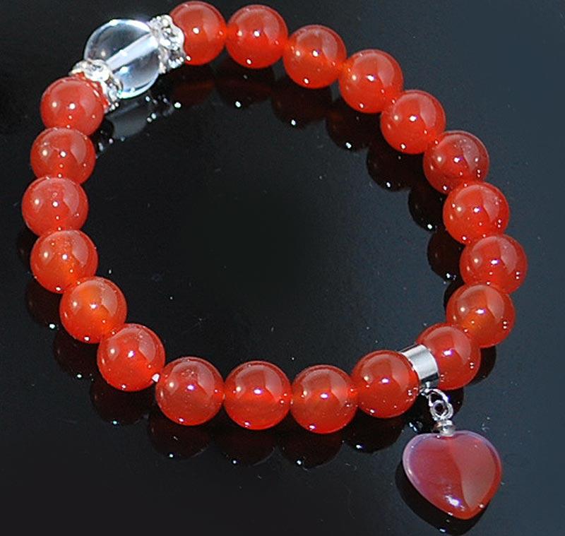 Heart Bracelet Wrist Mala Carnelian