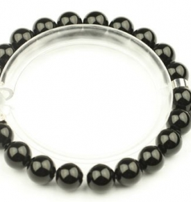 Wrist Mala Onyx- Heart Bracelet