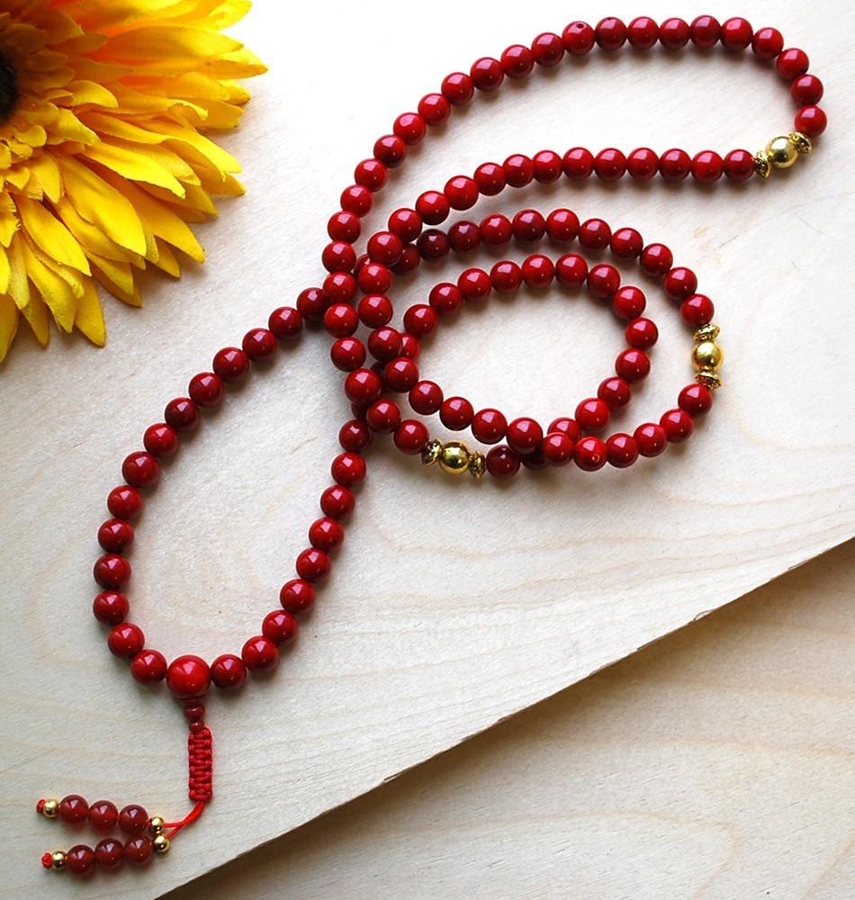 8mm Coral and Gold Mala
