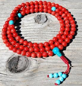 Coral & Turquoise Mala