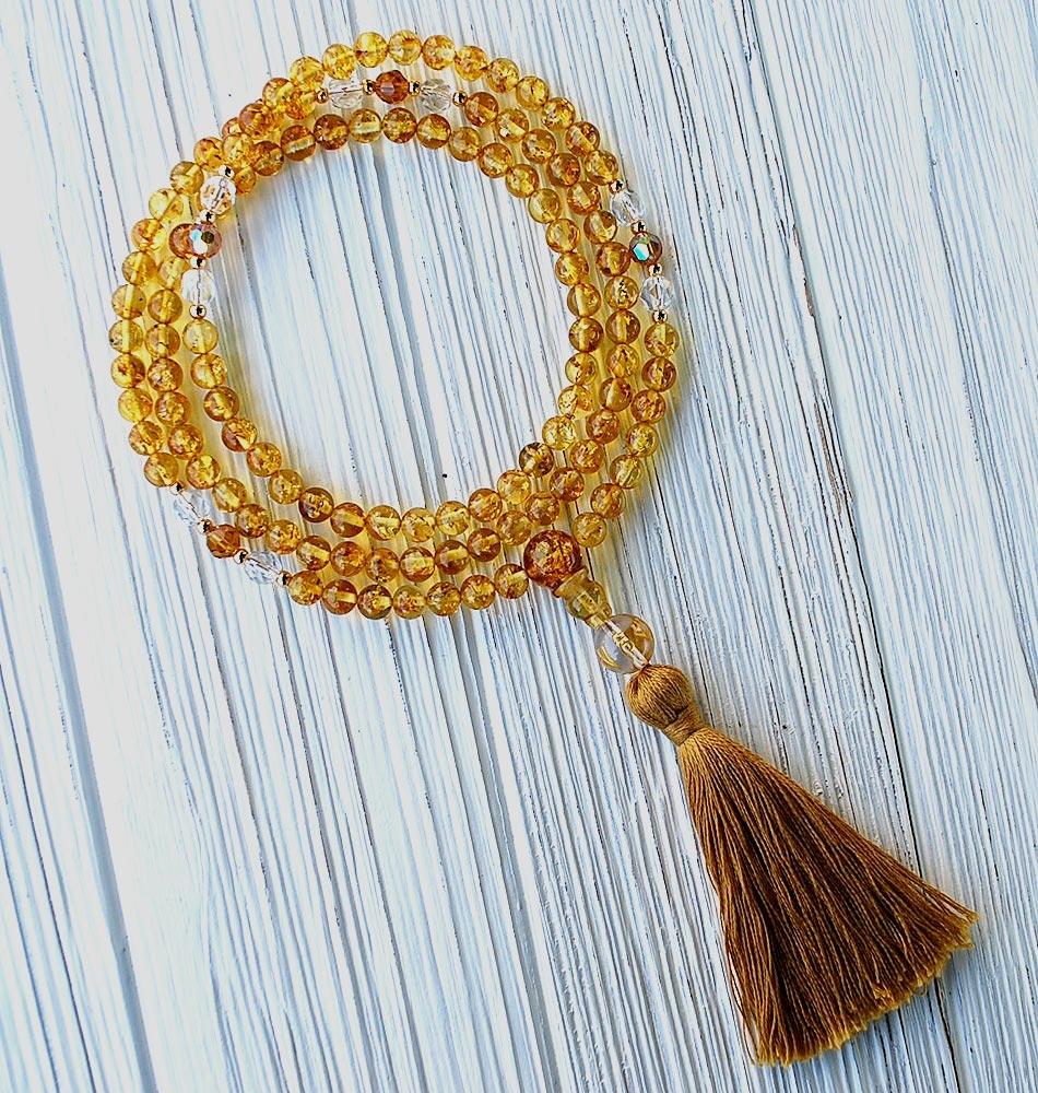 amber tassle necklace