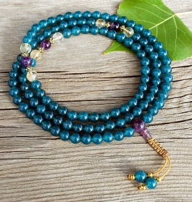 Jade, Amethyst and Citrine Mala