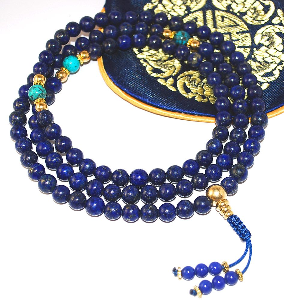 Lapis Mala with Gold and Turquoise