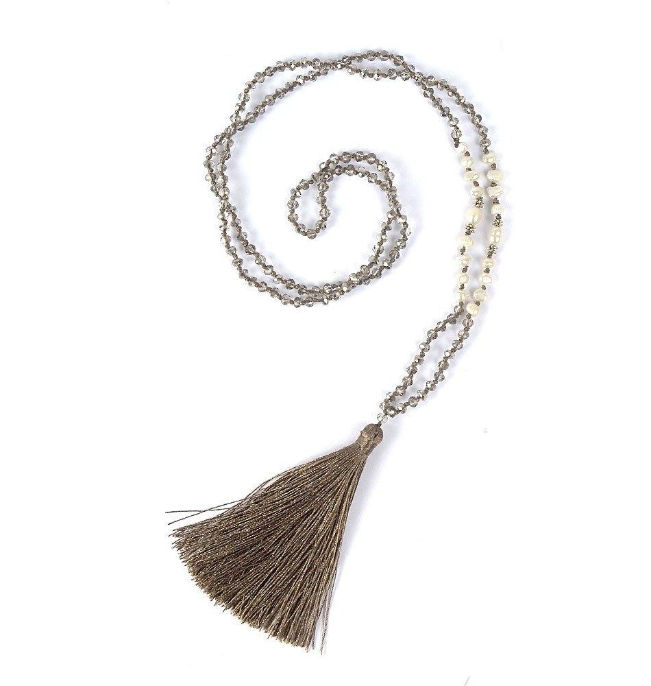 Mala Beads-Crystal, Pearl Silver