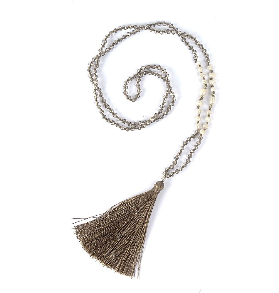 Mala Beads-Crystal, Pearl Silver
