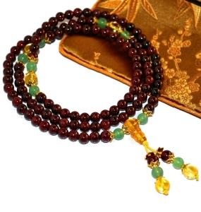 Mini Mala Garnet, Jade & Gold